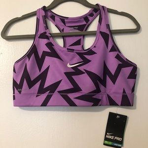 Nike Pro Dri-Fit Sports Bra, Size Large, Purple